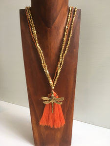 Balinese Handmade Long Bead Dragonfly & Tassel Necklace #1372
