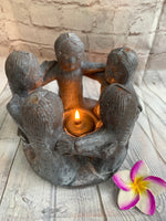 Balinese Painted Terracotta Circle of 5 Friends Candle Holder