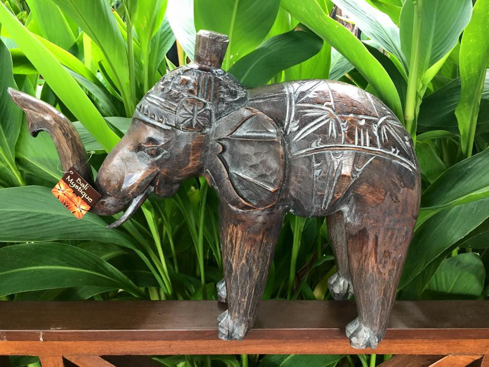Balinese Large 40cm Hand Carved Timber Elephant