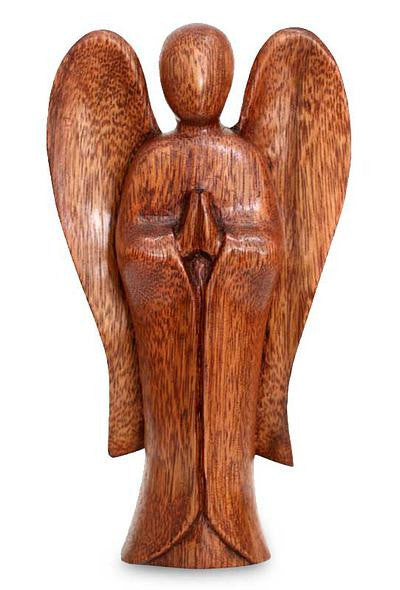 Balinese Hand Carved Angel Wood Carving Statue #1402