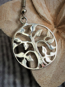 Silver Plated 925 Tree of Life Earrings #1425