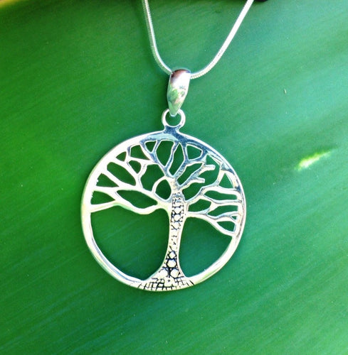 Balinese Tree of Life Pendant Necklace Stirling Silver 925 Plated #1426