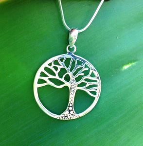 Balinese Tree of Life Pendant Necklace Sterling Silver 925 Plated