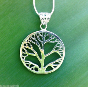 Sterling Silver 925 Plated Bali Tree of Life Pendant N'lace Gift Boxed