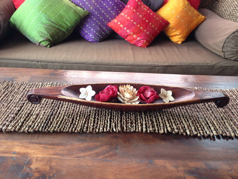 Balinese Carved Timber Boat Dish Tray with Rattan Edge