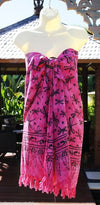 Quality Bali Print Beach Sarongs With Coconut Buckles