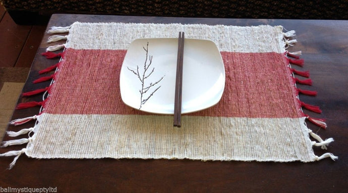 Balinese Natural Mendong Fibre Placemats/ Fringe Set of 6 Various Colours