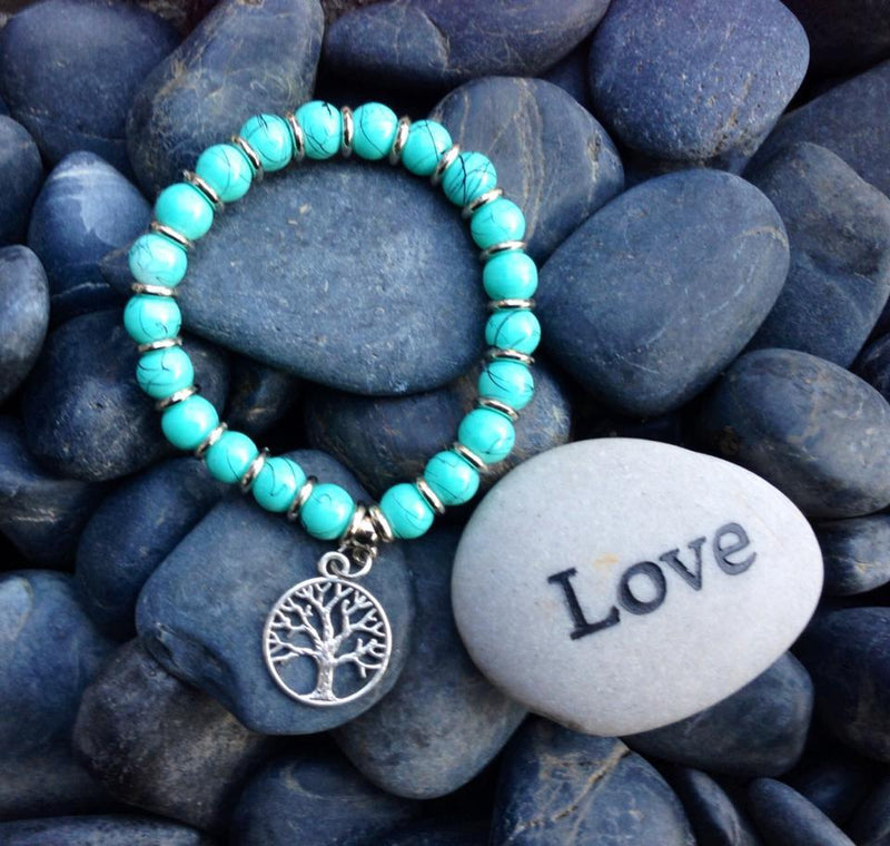 Balinese Beaded Bracelet with  Tree of Life Charm