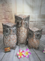 Balinese Hand Carved Timber Wise Owls Set of 3