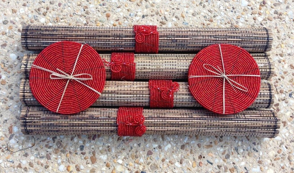 Set of 4 Bali Lidi Stick Placemats  RED Bead Coasters & Napkin Holders #1627