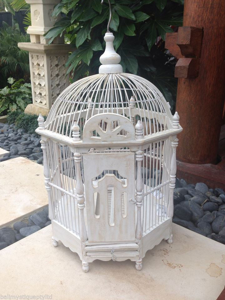 Balinese Decorative White Bamboo Bird Cage Wishing Well Card Holder