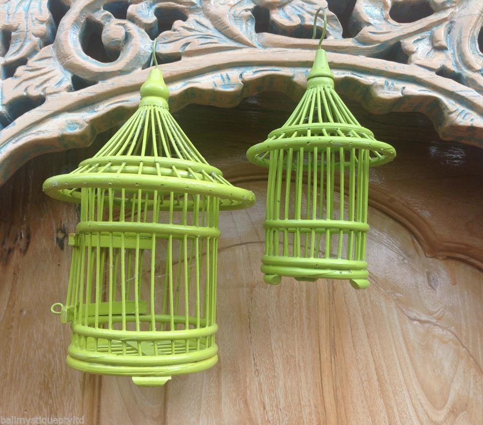 Balinese Lime Handmade Decorative Mini Bamboo Birdcage