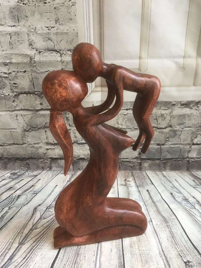 Balinese Wood Carving Mother & Baby Statue Bali