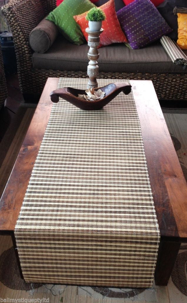 Balinese Extra Wide 200cm x 50cm Lidi Stick Table Runner with Fringe #1680