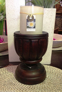 Balinese Brown Carved Timber Candle Holder