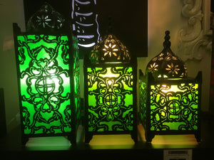 Balinese Masjid Moroccan Metal & Green Fabric Table Lamp