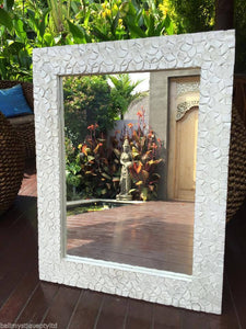 Balinese Whitewash Frangipani Carved Timber Mirror