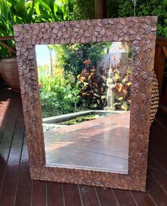 Balinese Timber Frangipani Carved Mirror #1693