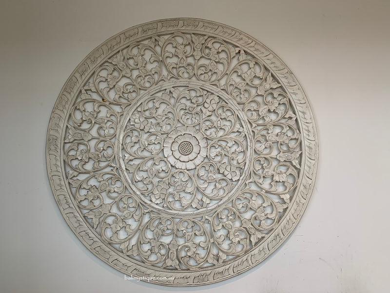 Round Hand Carved Mandala Headboard Wall Panel