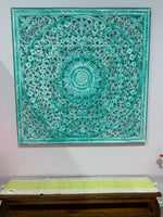 Square Carved Mandala Timber HeadBoard -  Wall Panel