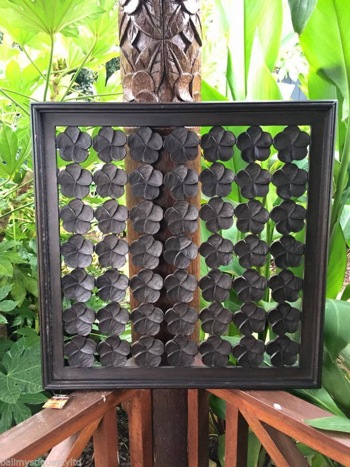 Balinese Wooden Timber Decorative Frangipani Wall Hanging Panel #1719