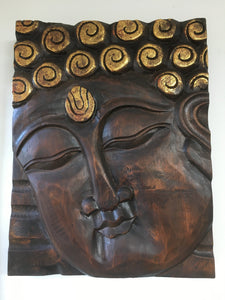 Balinese Buddha Face Solid Wood Carving Plaque #1731