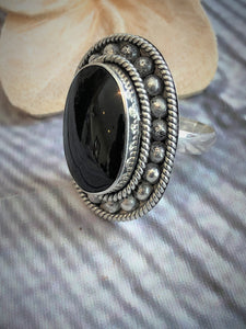 Balinese Stirling Silver 925 Black Stone Ring Gift Boxed #1737