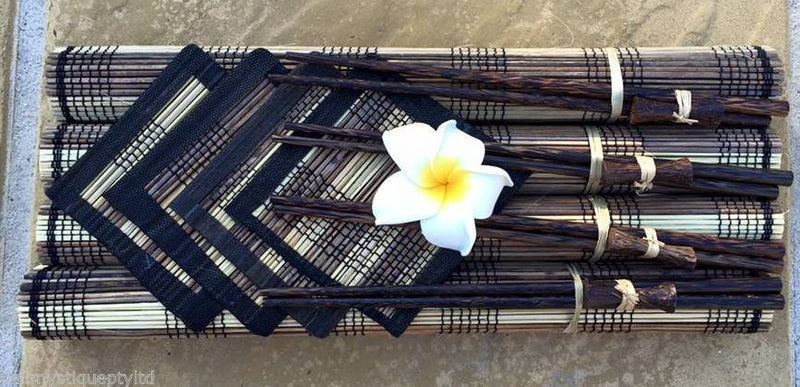 Set of 4 Balinese Lidi Stick Placemats Coasters & Chop Sticks