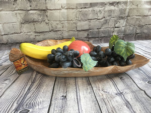 Balinese Wood Carved Timber Leaf Tray Platter