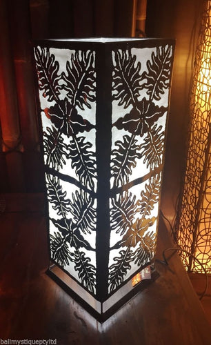 Moroccan Metal Table Lamp / White Insert Leaf Design #1792