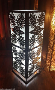 Moroccan Metal Table Lamp / White Insert Leaf Design