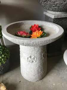 Balinese Cast Concrete Frangipani Design Bird Bath Water Feature #1801