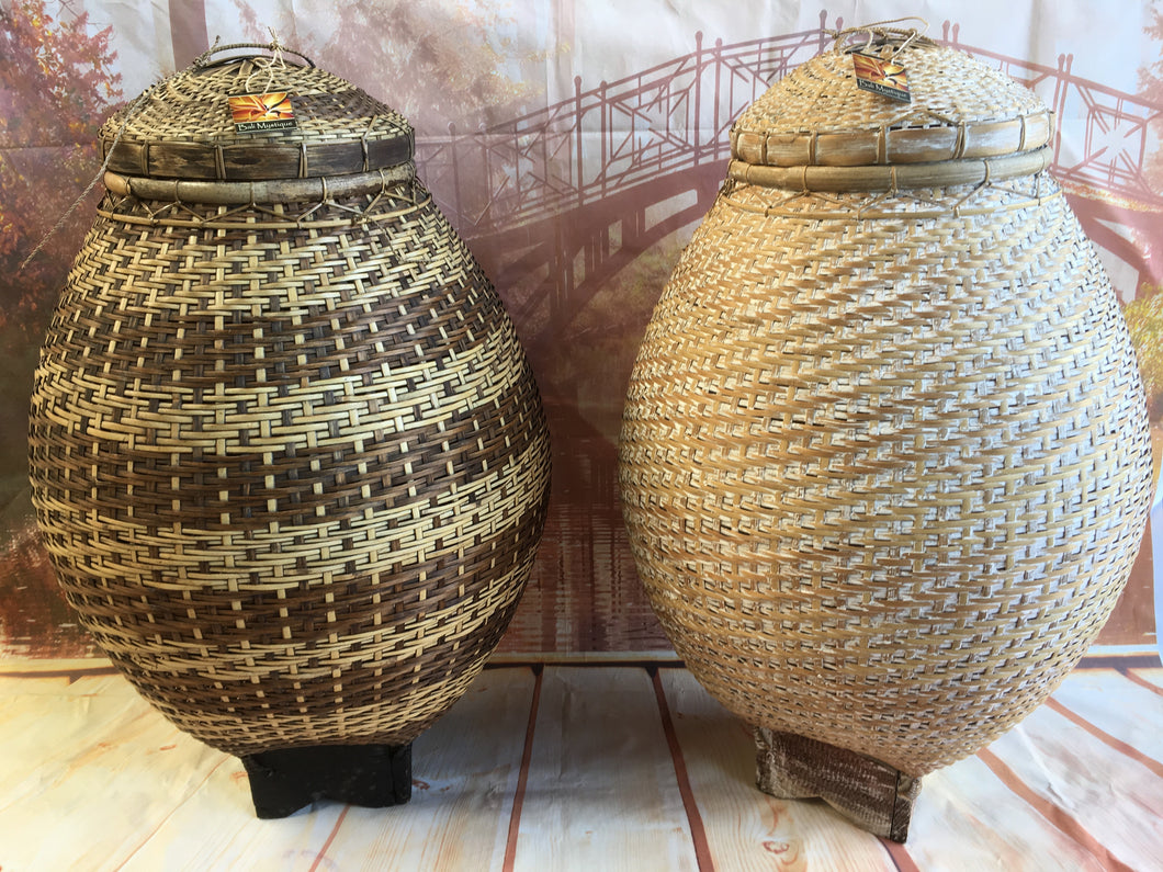 Balinese Day Spa Salon Cane & Rattan Egg Bin Basket with Lid