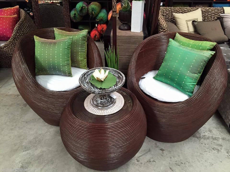 Balinese Cane Alfresco Tub Chairs & Coffee Table Patio Setting