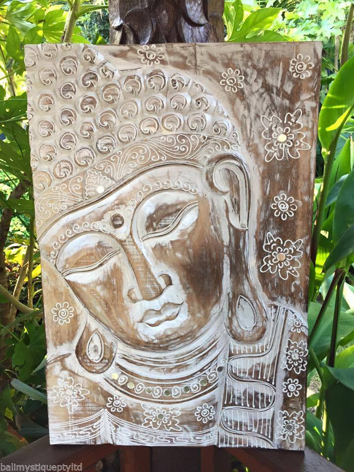 Balinese Buddha Face Solid Wood Carving Wall Plaque