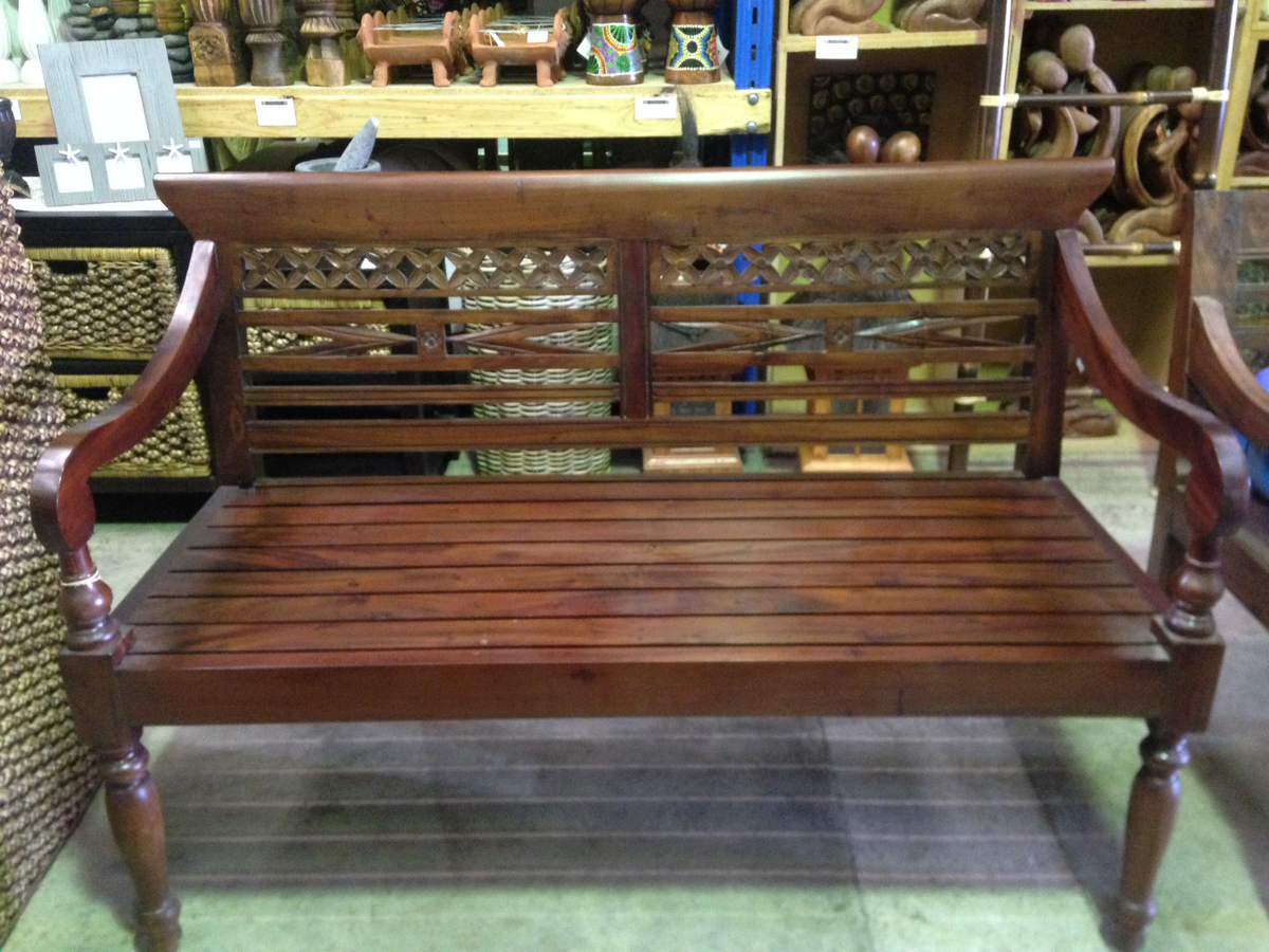 Balinese Mahogany Carved Bench Seat From Bali Indonesia