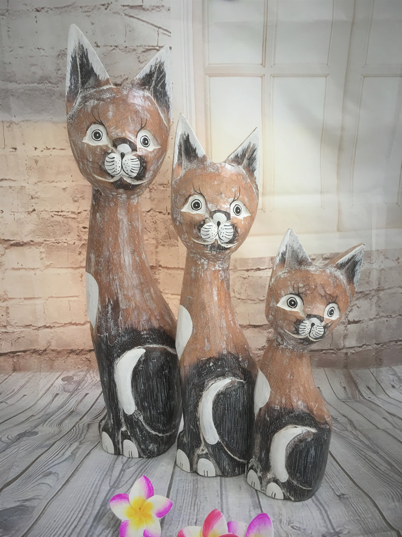 Cats Wood Carved - Set of 3