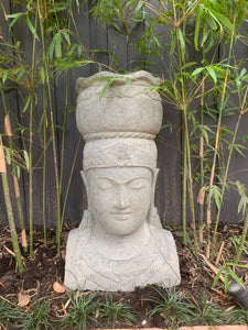 Lady Tara Head Garden Pot - Greenstone