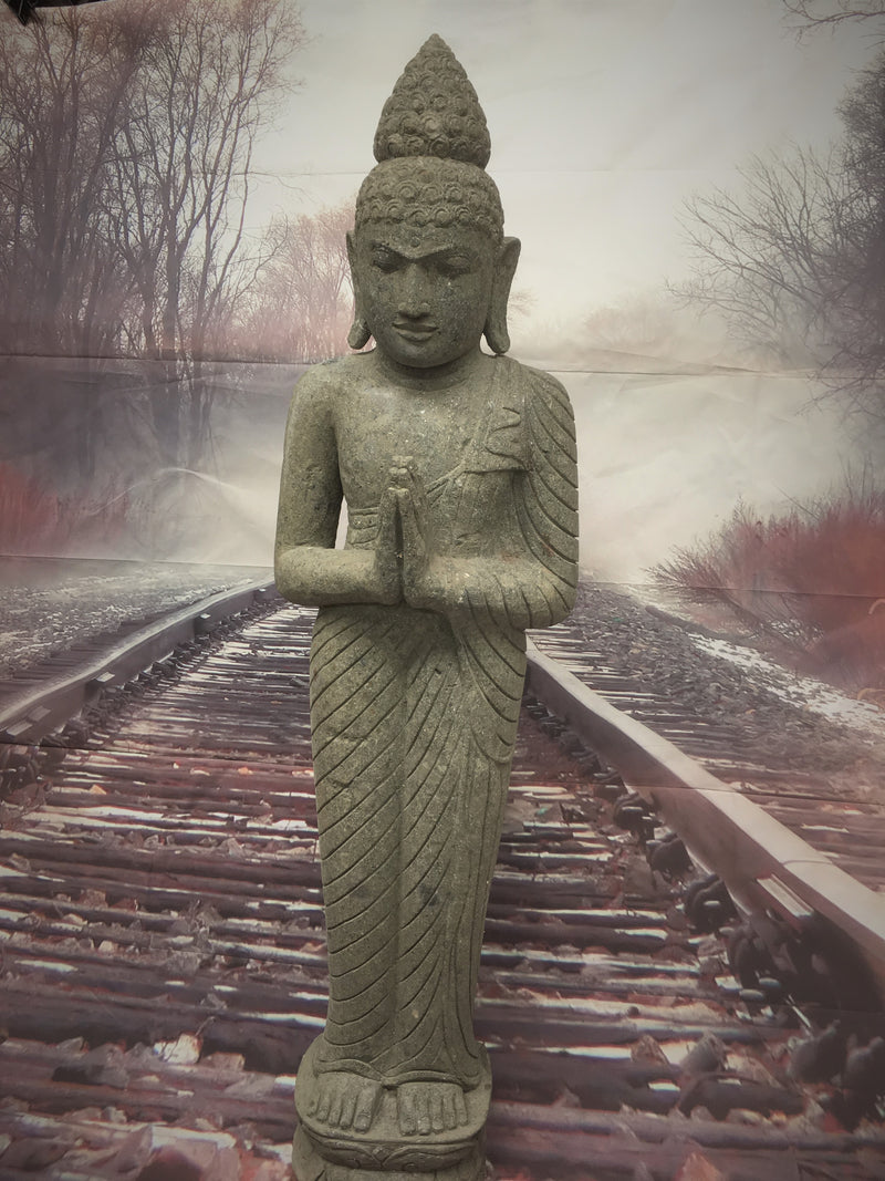 Greenstone Praying Standing Buddha