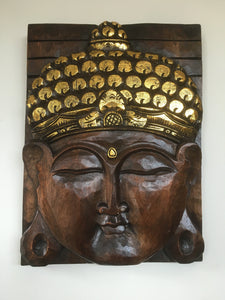 Balinese 40cm Buddha Face Solid Wood Carving Plaque #1868