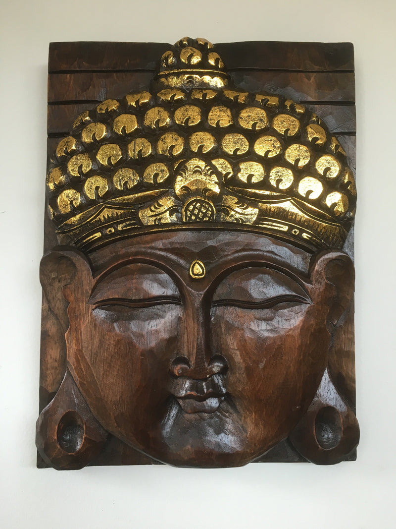 Balinese Buddha Face Solid Carved Wooden Wall Plaque