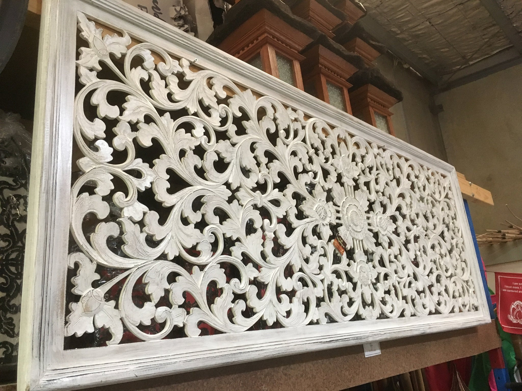 Balinese Hand Carved Wooden Bed Headboard 1874 Bali