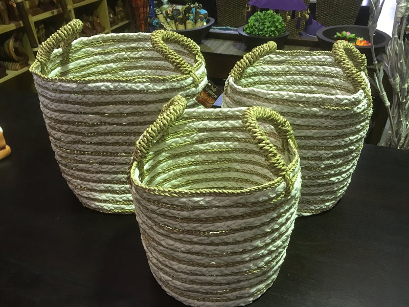 Balinese Seagrass Kepang Baskets Set of 3