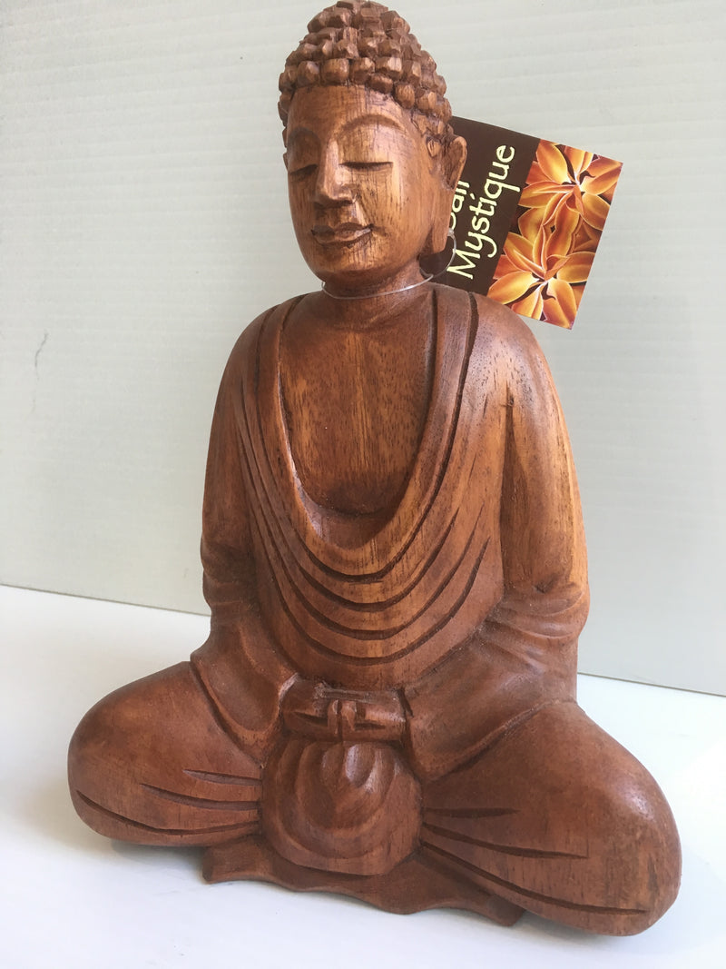 Balinese Hand Carved Timber Sitting Buddha Statue