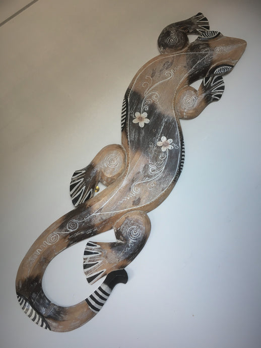 Balinese Hand Carved Wooden Gecko Lizard Wall Art