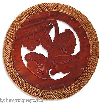 Balinese Round Timber Placemat with a Rattan Edge