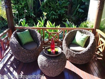 Balinese Rattan Water Hyacinth Alfresco Tub Chairs & Coffee Table Setting #725
