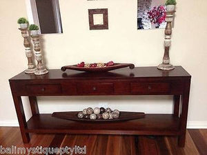 Balinese Mahogany Console Side Hall Table with Drawers #1185