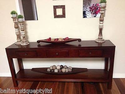 Balinese Mahogany Console Side Hall Table with Drawers