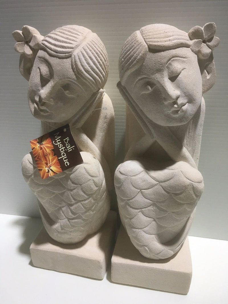 Bali Limestone Mermaid Dreaming Couple Statues